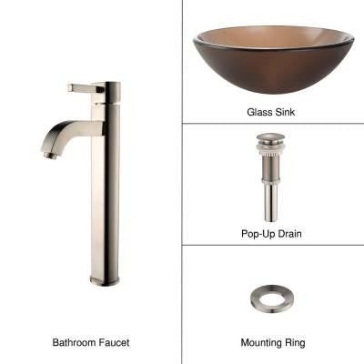 Glass Vessel Sink in Frosted Brown with Single Hole 1-Handle High-Arc Ramus Faucet in Satin Nickel