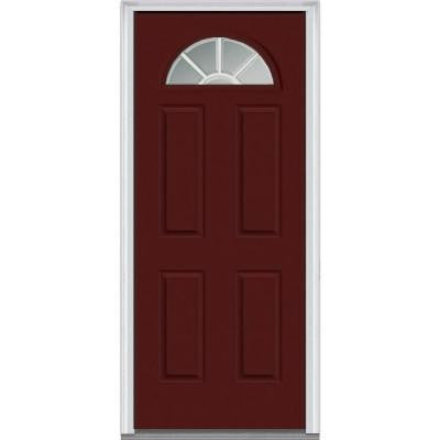 36 in. x 80 in. Classic Clear Glass GBG 1/4 Lite Painted Fiberglass Smooth Prehung Front Door