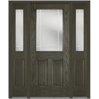 64 in. x 80 in. Classic Clear Glass PIM 1/2-Lite Finished Oak Fiberglass Prehung Front Door with Sidelites