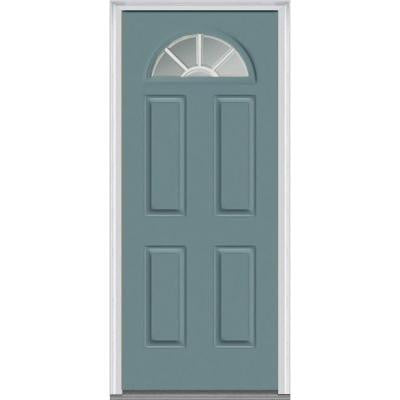 32 in. x 80 in. Classic Clear Glass GBG 1/4-Lite Painted Fiberglass Smooth Prehung Front Door