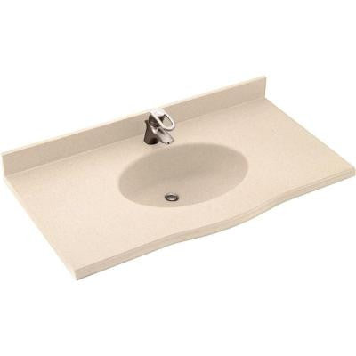 Europa 61 in. W x 22-1/2 in. D x 11-38 in. H Solid-Surface Vanity Top in Bermuda Sand with Bermuda Sand Basin
