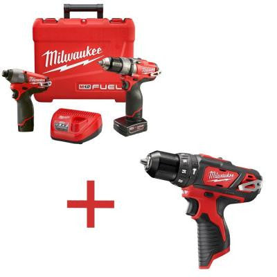 M12 FUEL 12-Volt Lithium-Ion Brushless 1/2 in. Cordless Hammer Drill/Impact Combo Kit with M12 3/8 in. Hammer Drill