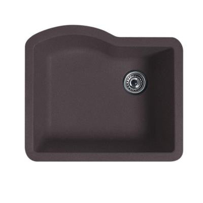 Undermount Granite 24x21x9 in. 0-Hole Single Bowl Kitchen Sink in Nero
