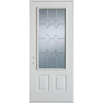 32 in. x 80 in. Geometric Patina 3/4 Lite 2-Panel Prefinished White Right-Hand Inswing Steel Prehung Front Door