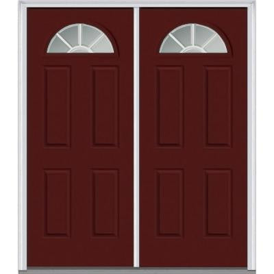 72 in. x 80 in. Classic Clear Glass GBG 1/4 Lite Painted Builder's Choice Steel Double Prehung Front Door
