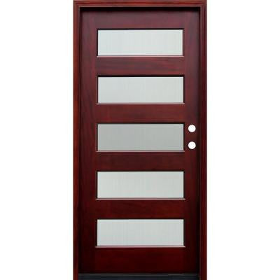 36 in. x 80 in. Contemporary 5 Lite Reed Stained Mahogany Wood Prehung Front Door with 6 Wall Series