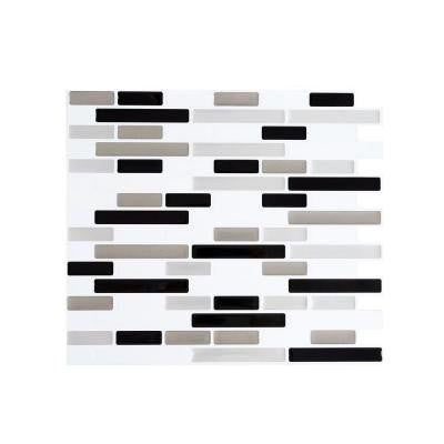11 in. x 9.25 in. Calm Silver PVC Peel and Stick Decorative Wall Tile (8-Pack)