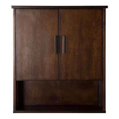 Castlethorpe 25 in. W x 7.75 in. D Wall Cabinet in Dark Walnut