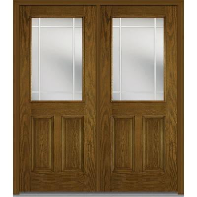 72 in. x 80 in. Classic Clear Glass PIM 1/2-Lite Finished Oak Fiberglass Double Prehung Front Door