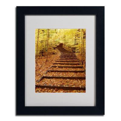 11 in. x 14 in. Fall Stairway Black Framed Matted Art