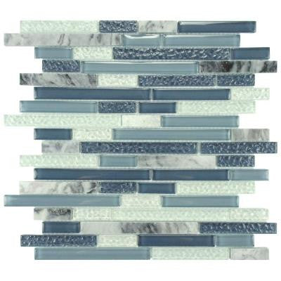 Tessera Piano Gulf 11-5/8 in. x 11-3/4 in. x 8 mm Glass and Stone Mosaic Wall Tile