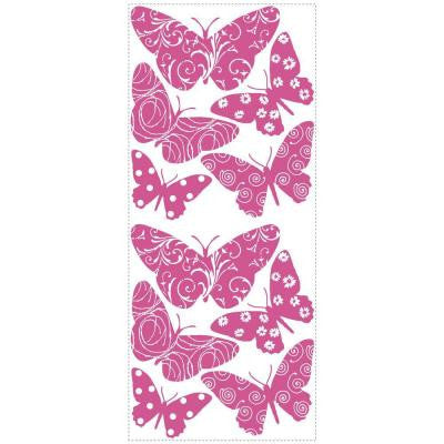 2.5 in. x 17.5 in. Flocked Butterfly Peel and Stick Wall Decal