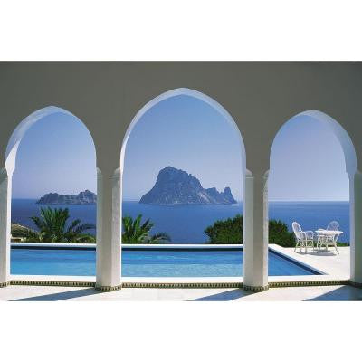 106 in. x 153 in. Pool and Arches, Mallorca Wall Mural