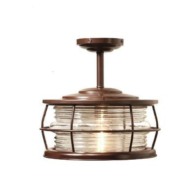Harbor 12 in. 1-Light Copper Outdoor Convertible Hanging Flushmount