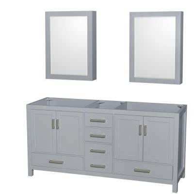 Sheffield 72 in. Vanity Cabinet with Medicine Cabinet Mirrors in Gray