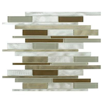 Fusion Linear Lorraine 11-7/8 in. x 12-1/8 in. x 6 mm Brushed Aluminum and Glass Mosaic Wall Tile
