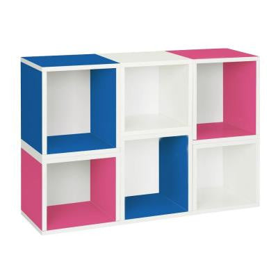 6-Cube Stackable Arlington Modular Bookcase and Eco Storage Shelf in Blue/Pink/White
