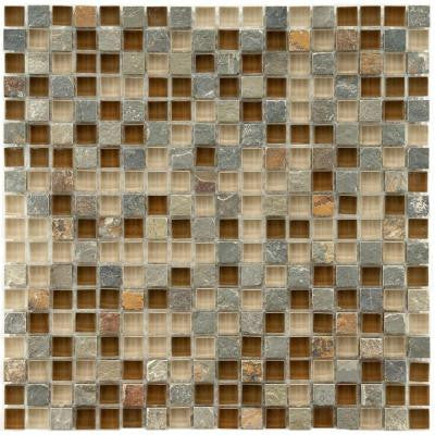 Tessera Mini Brixton 11-3/4 in. x 11-3/4 in. x 8 mm Stone and Glass Mosaic Wall Tile