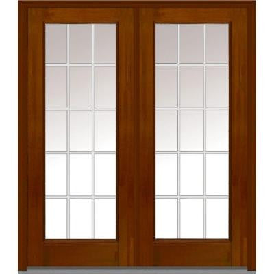 72 in. x 80 in. Classic Clear Glass GBG Full Lite Finished Mahogany Fiberglass Double Prehung Front Door