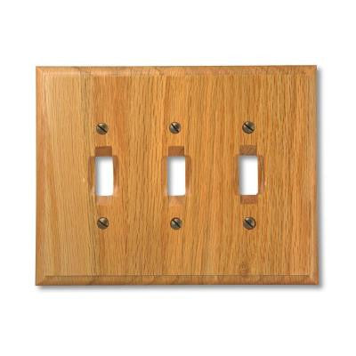 3 Toggle Wall Plate - Light Oak