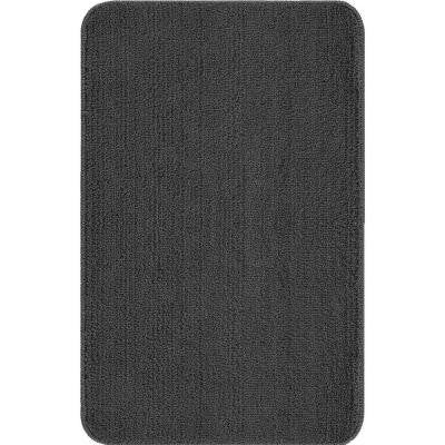 Solid Design Grey 3 ft. 3 in. x 5 ft. Non-Slip Bathroom Area Rug