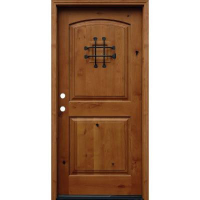 36 in. x 80 in. Rustic Arched 2-Panel Stained Knotty Alder Wood Prehung Front Door with 6 in. Wall Series