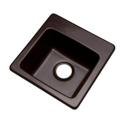 Westminster Drop-In Composite Granite 16 in. 0-Hole Single Bowl Bar Sink in Espresso
