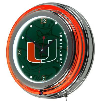 University of Miami 14 in. Round Fade Neon Wall Clock