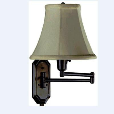 Traditional Oil Rubbed Bronze Swing Arm Lamp with Sage Shade