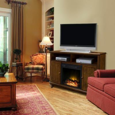 57 in. Media Console Electric Fireplace in Heritage Finish