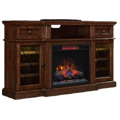 Rosengrant 59.5 in. Media Console Electric Fireplace in Walnut with Reversible Wine Shelves