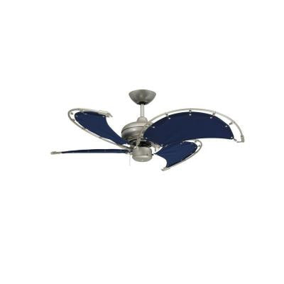 Voyage 40 in. Indoor/Outdoor Brushed Nickel Ceiling Fan with Blue Fabric Blades