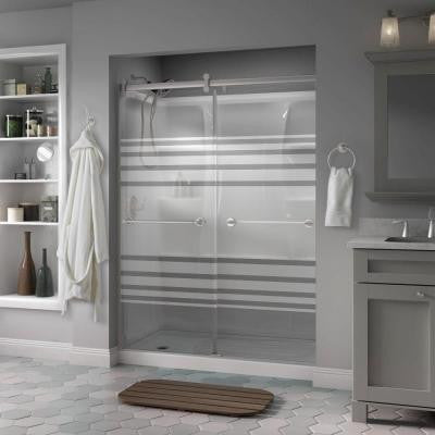 Phoebe 60 in. x 71in. Semi-Framed Contemporary Style Sliding Shower Door in Nickel with Transition Glass