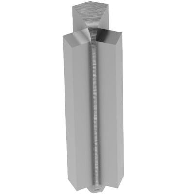 Rondec-Step Brushed Chrome Anodized Aluminum 3/8 in. x 1-7/8 in. Metal 135 Degree Inside Corner