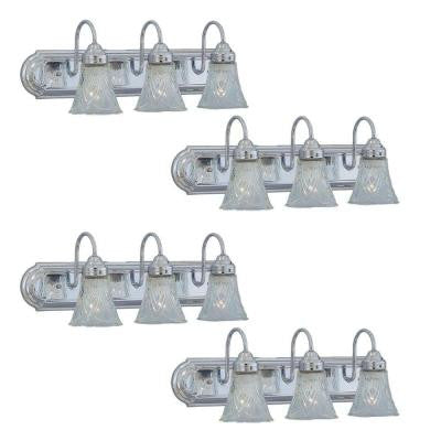 3-Light Chrome Bath Vanity Wall Mounted Light with Clear Glass Shades (4-Pack)