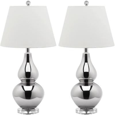 Cybil 26.5 in. Silver Double Gourd Glass Lamp (Set of 2)