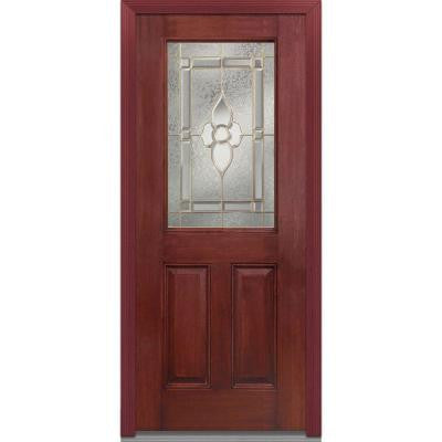 32 in. x 80 in. Master Nouveau Decorative Glass 1/2 Lite 2-Panel Finished Mahogany Fiberglass Prehung Front Door