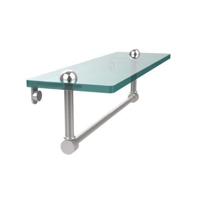 16 in. W Glass Vanity Shelf with Integrated Towel Bar in Polished Chrome