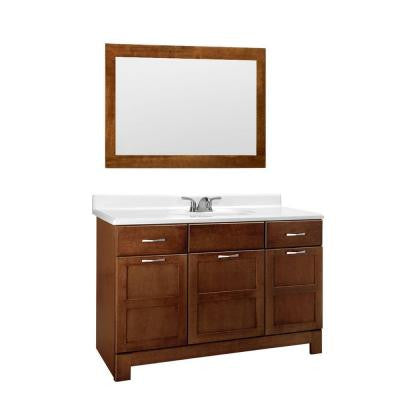 Casual 48 in. W x 21 in. D Vanity Cabinet with Mirror in Cognac