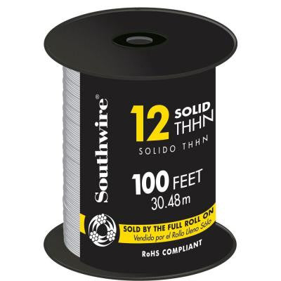100 ft. 12/1 Solid THHN Wire White