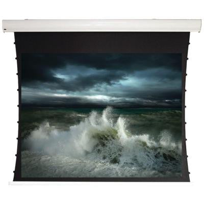 135 in. Tauten Series Tab-Tensioned Pearl White Motorized Screen