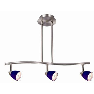 Gibson 3-Light Satin Nickel Rail Lighting with Blue Glass Shades