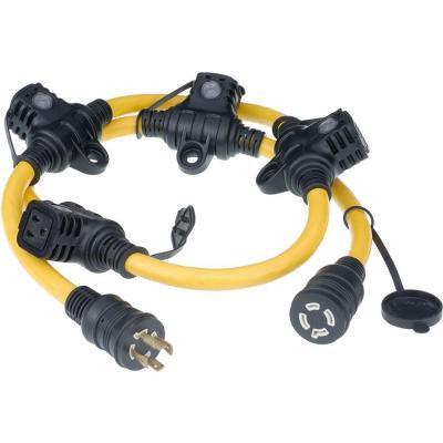 5 ft. 12/4 5-Outlet Generator Cord - Yellow