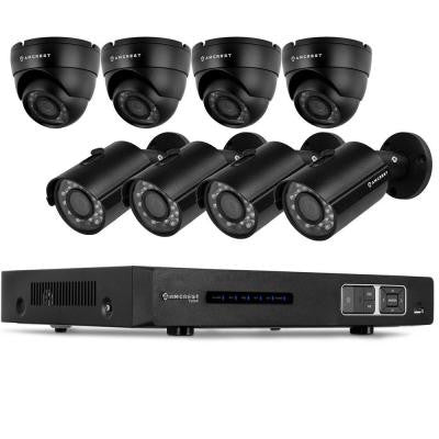 720P Tribrid HDCVI 8CH 2TB DVR Security Camera System with 4 x 1MP Bullet Cameras and 4 x 1MP Dome Cameras - Black