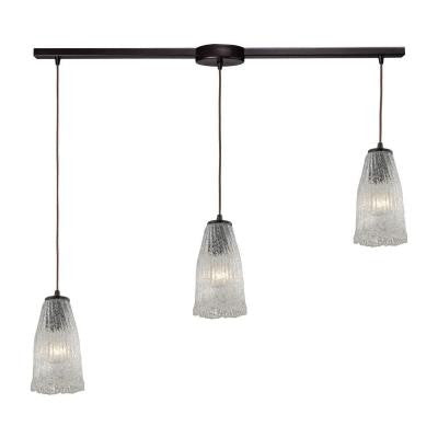 Hand Formed Glass 36 in. 3-Light Oil Rubbed Bronze Pendant