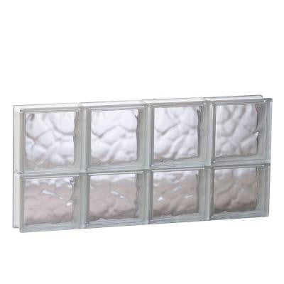 31 in. x 13.5 in. x 3.125 in. Non-Vented Wave Pattern Glass Block Window
