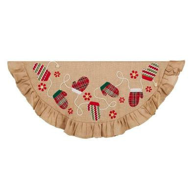 48 in. Tan and Red Applique and Embroidery Christmas Tree Skirt