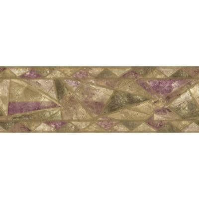 6.88 in. x 15 ft. Purple and Green Geometric Style Border