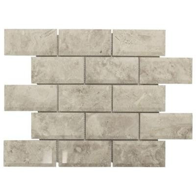 Roman 2 x 4 Beveled 13.75 in. x 10 in. x 10 mm Grey Marble Mosaic Wall Tile