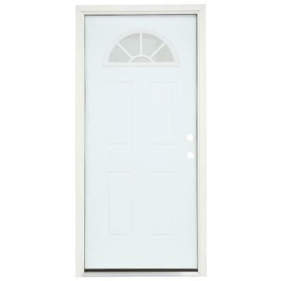 36 in. x 80 in. Fan Lite Primed Premium Steel Prehung Front Door with Brickmould